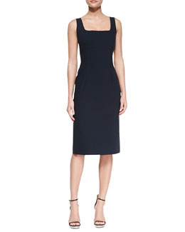 Michael Kors Sleeveless Sheath Stretch-Cotton Dress, Midnight