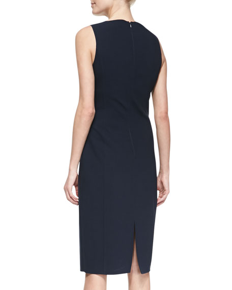 Double-Face Stretch Sheath Dress, Midnight