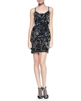 Yoana Baraschi Blue Beaded Fitted Dress, Black