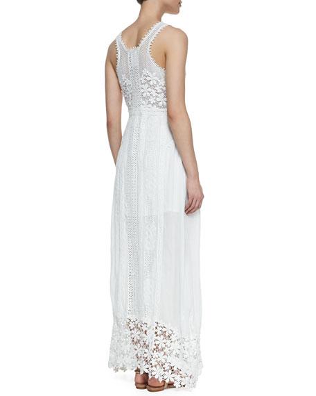 Sleeveless Eyelet & Lace Maxi Dress