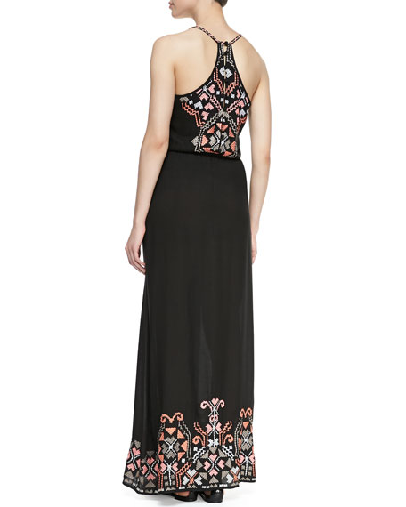 Embroidered Racerback Maxi Dress