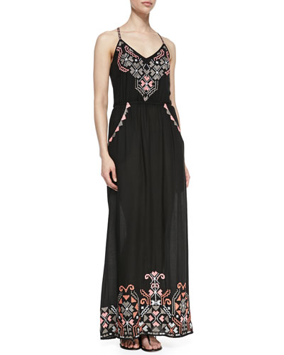 Yoana Baraschi Embroidered Racerback Maxi Dress