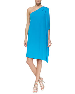 Michael Kors One-Shoulder Tissue Matte Jersey Dress, Pool