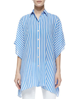 Michael Kors Striped Kimono Blouse, Sea/White