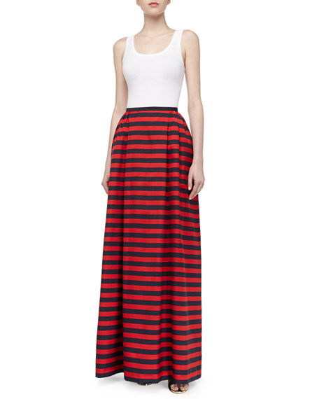 Cabana Stripe Maxi Skirt, Midnight/Crimson