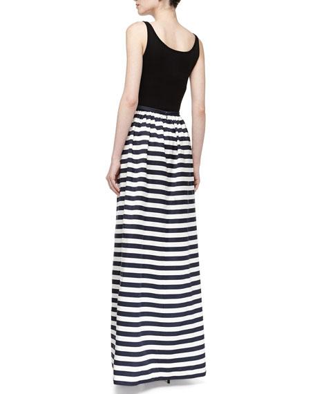 Cabana Stripe Maxi Skirt, Midnight/White