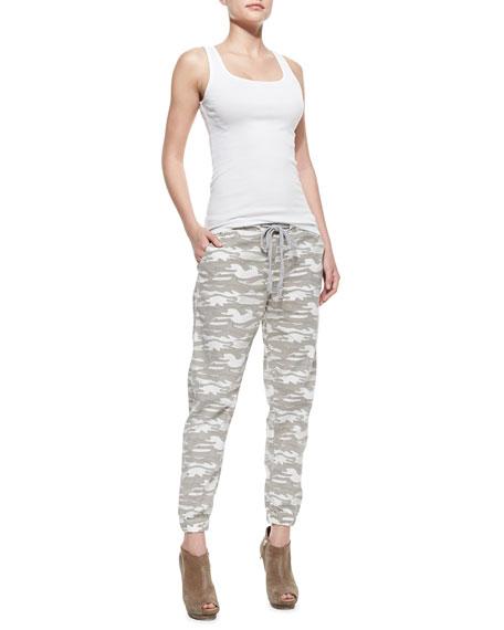 Camo-Print Elastic-Cuff Pants