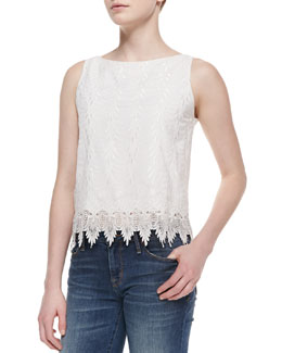 Alice + Olivia Anya Sleeveless Embroidered Top