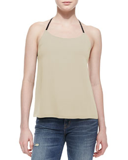 Alice + Olivia Lindsay Leather-T-Back Silk Top