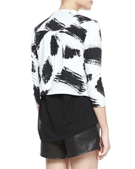 York Brush-Print Cropped Crepe Jacket