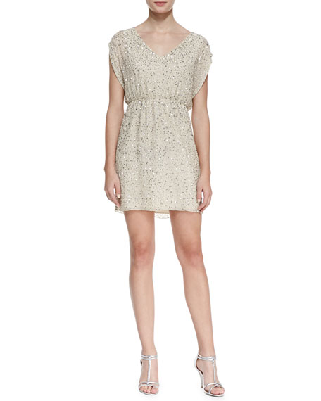 Nelson Sequined Silk Blouson Dress