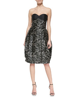 Michael Kors Strapless Bustier Lace-Print Dress