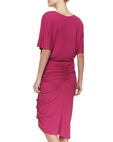 Ruched-Skirt Jersey Dress, Peony