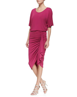 Michael Kors Ruched-Skirt Jersey Dress, Peony
