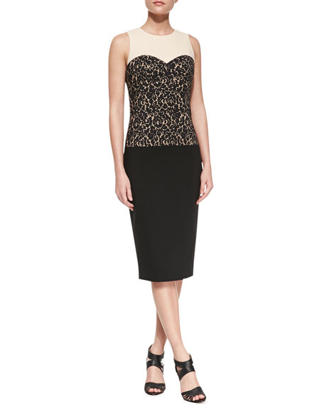 Lace-Print Bodice Dress
