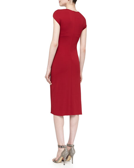 Cap-Sleeve Asymmetric Ruched Dress, Rose
