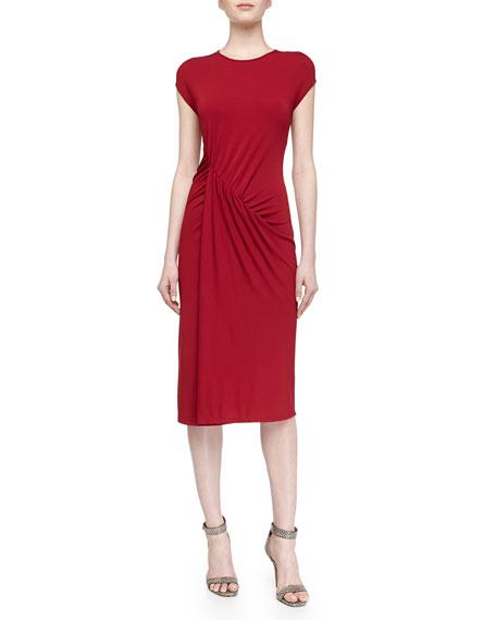 Michael Kors Cap-Sleeve Asymmetric Ruched Dress, Rose