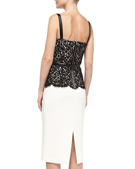 Belted Lace-Top Sheath Dress, Ivory/Black