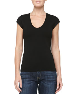 Michael Kors Cap-Sleeve Scoop-Neck Wool Top, Black