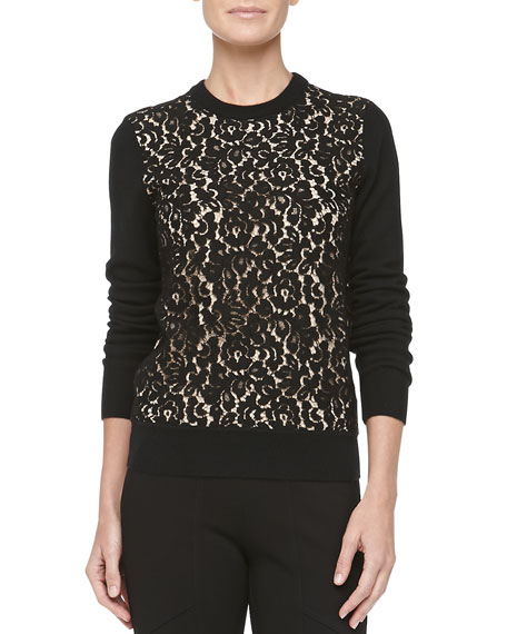 Cashmere Lace-Front Sweater, Black/Nude