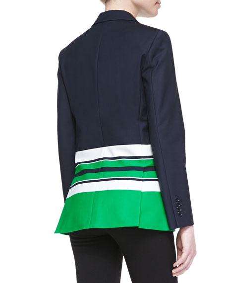 3-Button Striped Stretch-Cotton Jacket