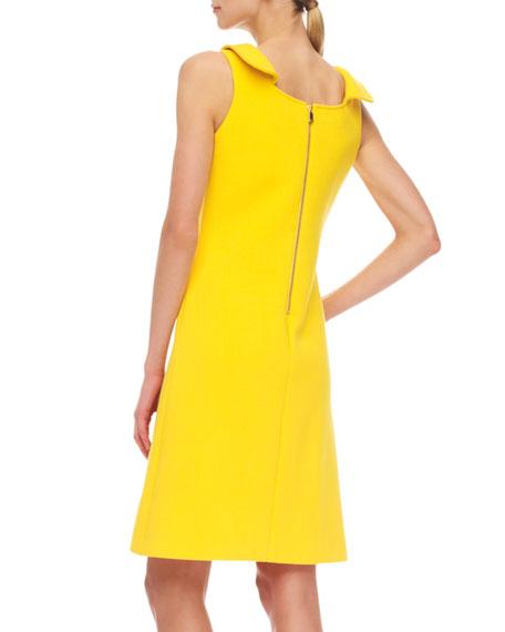 Zip-Shoulder Crepe Dress