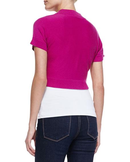 Cashmere Short-Sleeve Shrug, Peony