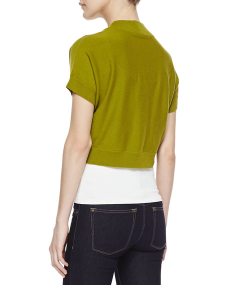 Cashmere Short-Sleeve Shrug, Leaf