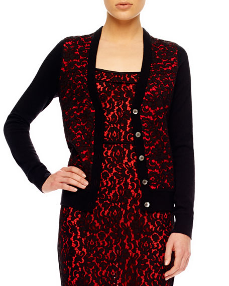 Lace-Front Cashmere Cardigan