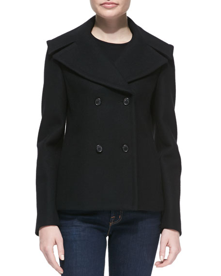Melton Wool Double-Breasted Peacoat, Black