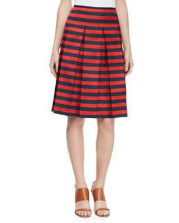 Michael Kors Cabana Striped Pleated Skirt