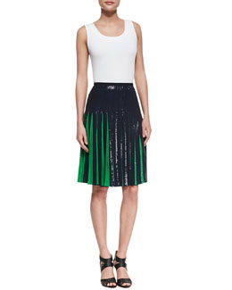Michael Kors Bicolor Sequined Pleated Skirt
