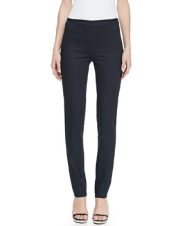 Michael Kors Slim Straight-Leg Twill Pants, Midnight
