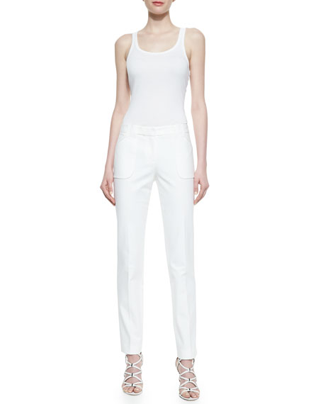 Eva Broadcloth Utility Pants, Optic White