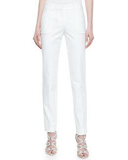 Michael Kors Eva Broadcloth Utility Pants, Optic White