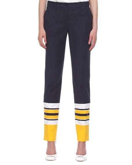 Stripe-Cuff Broadcloth Pants