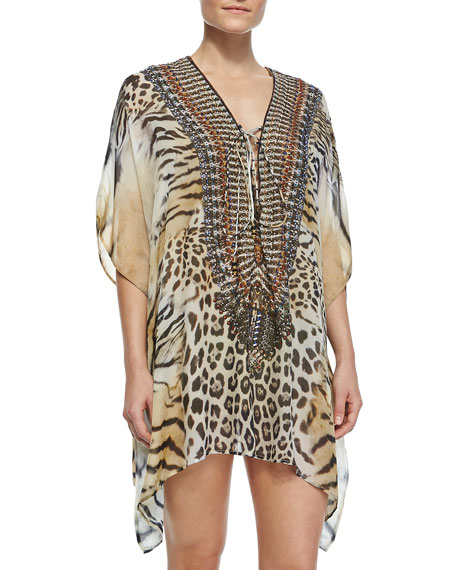 Tiger-Print Lace-Up Short Caftan