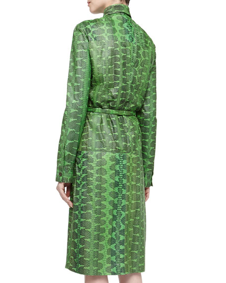 Snakeskin Belted Long-Sleeve Shirtdress, Palm