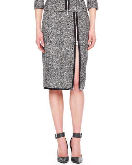 Zip-Slit Tweed Skirt