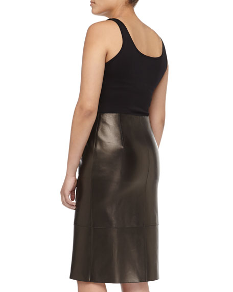 Paneled Zip Leather Pencil Skirt, Black