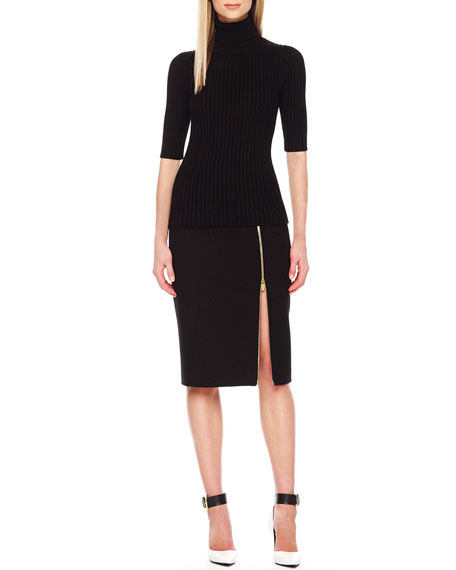 Zip-Hem Pencil Skirt, Black
