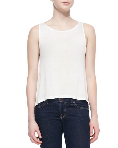 Whitney High-Low Tank Top, Ivory