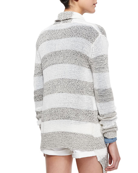Elira Striped Open-Front Cascade Cardigan, Black/White