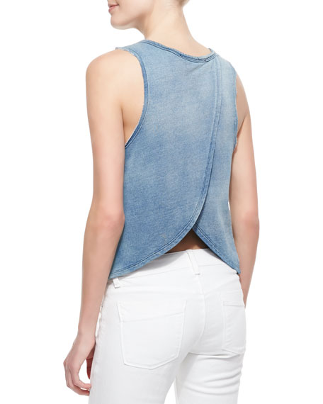 Regan Denim Open-Back Top, Light Blue