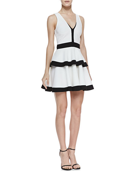 Quinn Contrast Tiered Fit-And-Flare Dress, White/Black