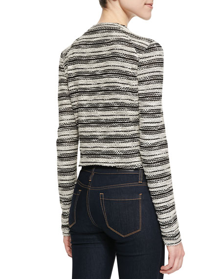 Slub French Terry Striped Asymmetric Zip Jacket, Oatmeal/Black