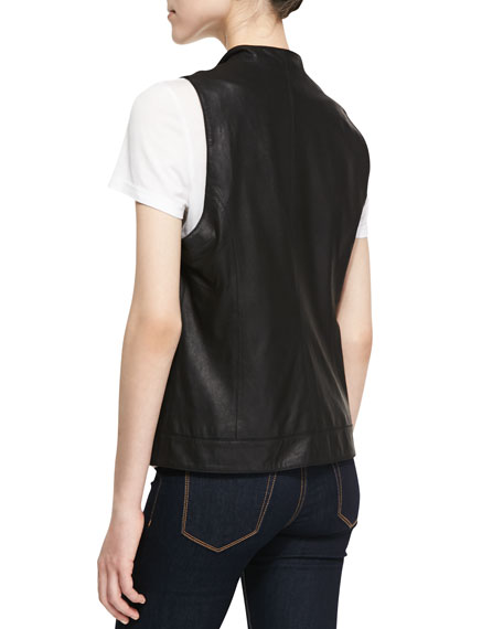 Soft Leather Open-Front Vest, Black