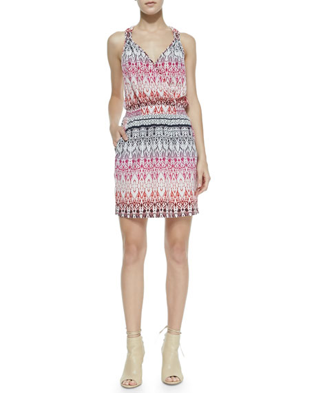 Sleeveless Tapestry-Print Knotted Dress, Pink