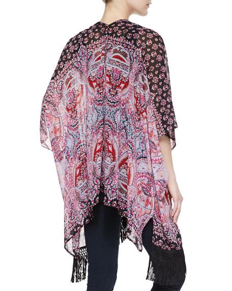 Turkish Paisley-Print Fringe Kimono, Red