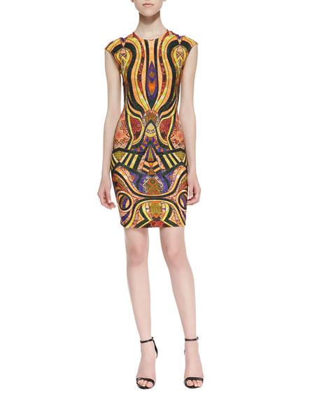 Morgan Mixed-Tiles-Print Sheath Dress, Gold